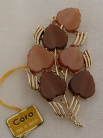 1960s Signed Coro Brooch - Stylised Flowers (Sold)